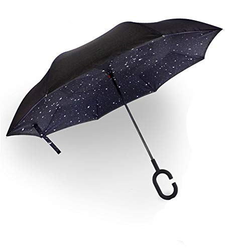 Di alta qualita 'ombrello 2018 nuove e creative contrario contrario ombrello doppia c tipo adulto senza ombrello,cielo stellato