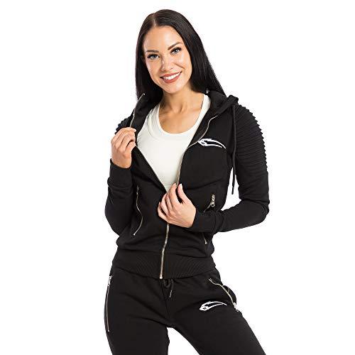 SMILODOX Damen Zip Hoodie 'Ripplez' | Laufjacke für Sport Training & Freizeit | Trainingsjacke - Running | Sweatshirt mit Reißverschluss, Farbe:Schwarz, Größe:S