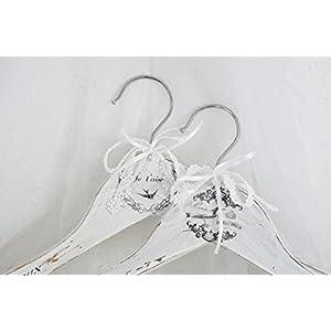 Unikate handmade Bügel Kleiderbügel 'Oiseaux' 2 Stück im Set Garderobe Shabby Chic