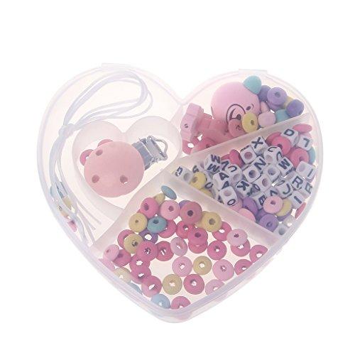 Baodanjiayou DIY Baby Hölz Schnuller Clips Kautabletten Zahnen Spielzeug Silikon Krankenpflege Halskette Häkelnde Perlen Armband
