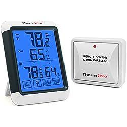 ThermoPro TP65 Inalámbrico Termómetro Higrómetro Digital exterior y interior con gran Pantalla táctil y Retroiluminación azúl, Medidor de Humedad Temperatura, Función de memoria