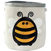 Grey Bee Animal Theme Collapsible Canvas Storage Bin