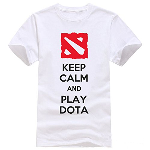 Men's Keep Calm And Play Dota Letters Printed Cotton Tee Shirt 1