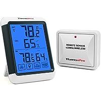 ThermoPro TP65 Termometro a Distanza Wireless per Interno Esterno Igrometro Digitale Misura Umidità e Temperatura con grande schermo a sfioramento e blu retroilluminato