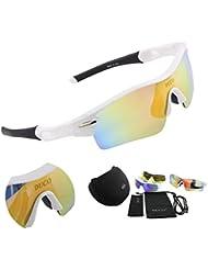 Duco polarisierte Sport Sonnenbrille mit 5 auswechselbaren Gläsern UV400 Schutz Sportbrille fürs Radfahren Laufbrille Joggbrille 0026