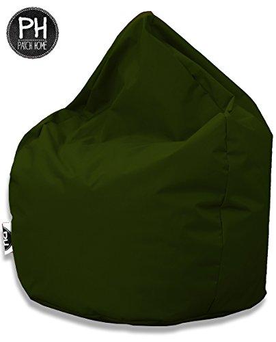 Patchhome Sitzsack Tropfenform Khaki für in & Outdoor XXL 420 Liter - mit Styropor Füllung in 25 Versch. Farben und 3 Größen
