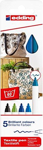 edding 4600 Textil-Stift - 5er Set - Kalte Farben - Rundspitze 1 mm - Zum Bemalen von Textilien (wie z.B. T-Shirt, Kissen, Beutel) - Textilfarbe waschmaschinenfest bis 60°C