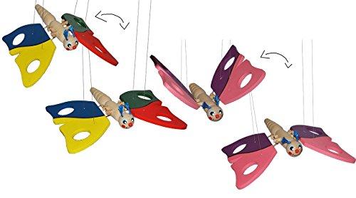 2 tlg. Set: Holzmobile / Unruhe / Schwingtier - Schmetterling bunt + rosa aus Holz - Spielzeug Windspiel Tiere Schmetterling Mobile Traumfänger für Kinder Baby Mobiles / Schwingfigur