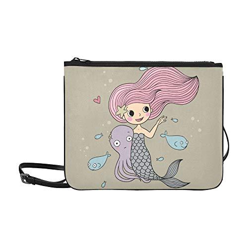 eine Meerjungfrau mit Meerestieren Muster benutzerdefinierte hochwertige Nylon dünne Clutch Tasche Umhängetasche Umhängetasche ()