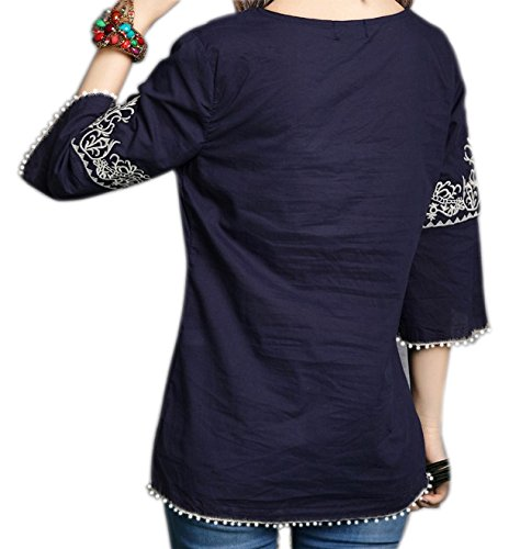 Triumphin Blue Women Girls Cut Shoulder/Cold Shoulder Embroidered Cotton Rayon Top for Dailywear Stylish Casual and Western Wear Women/Girls Tops