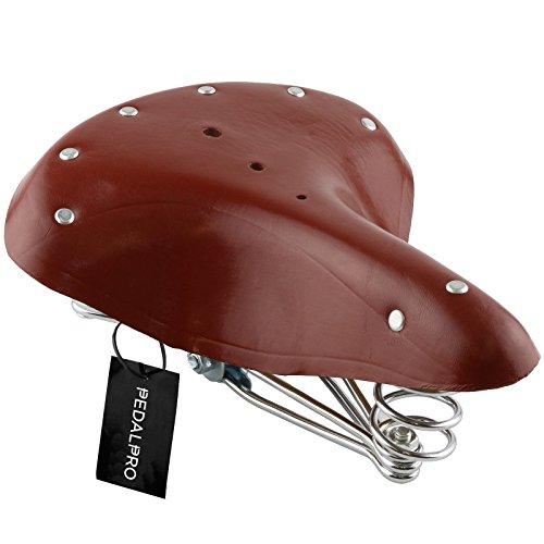 PedalPro - Sellino per bicicletta - stile classico - pelle - marrone
