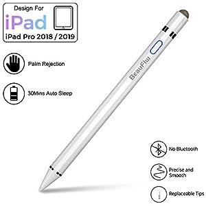 BeauFlw iPad Stift, Stylus Pen für Apple iPad,Wiederaufladbarem Apple Pencil mit 1,0 mm Feiner Spitze und Energiesparfunktion Kompatibel für iPad 6, iPad 7, iPad Mini 5, iPad Air 3,iPad Pro 3.