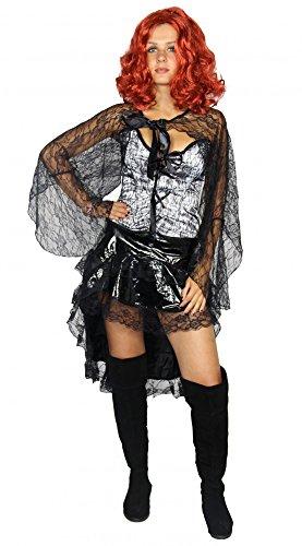 (Foxxeo weiße Corsage mit Vokuhila Rock Saloongirl Kostüm für Damen Streampunk Gr. XS-L, Größe:XS)