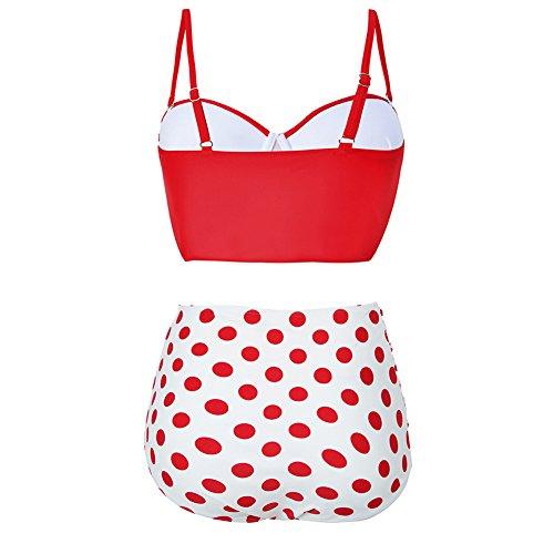 FeelinGirl Damen Retro Badeanzug Bademode Bikini Set hohe Teillen -
