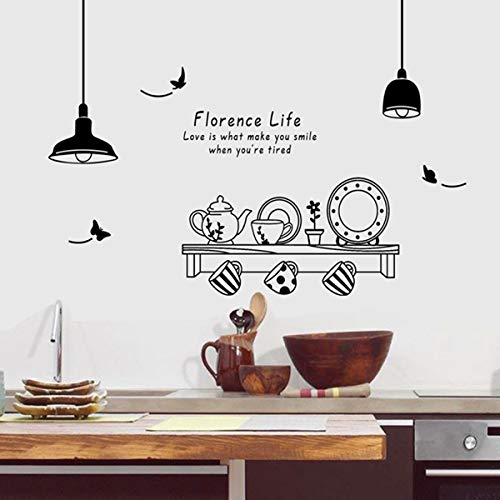 JXWH 115X140 cm Freies Verschiffen Florenz Leben entfernbare wandaufkleber küche Restaurant Tee Tasse Schrank dekorative abziehbilder wandbilder Florenz-tee