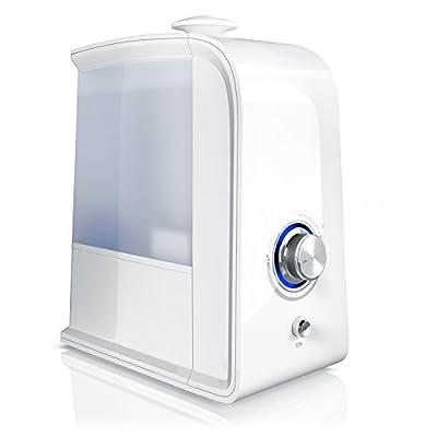 Arendo - LED Luftbefeuchter 3,5 Liter inkl. Ionisierung   Wasserfilter   Raumbefeuchter/Luftreiniger   Ultraschall-Technologie   Geruchsneutralisation durch Ionisierung