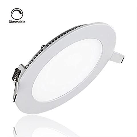 Smart&Green Lighting® LED Ceiling Light Fixtures Dimmable, Ultrathin Round Panel Lights, 6W 400LM 3000K(Warm White), Hole Size:105MM, AC85-265V, Budget-Friendly,Flat LED Lights, LED Driver Include