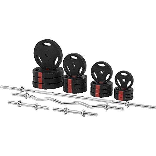 Gorilla Sports Set d'haltères complet avec disques revêtement plastique avec poignées + barres 97,5 Kg