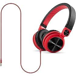 Energy Sistem DJ2 - Auriculares (rotación 180º, cable extraíble, plegables), color rojo
