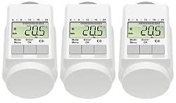 AGT-Set aus 3programmierbaren Thermostatventilen (zur Energieeinsparung), Farbe: weiß