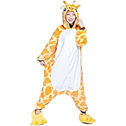 Misslight Unicornio Pijamas Animal Ropa de dormir Cosplay Disfraces Kigurumi Pijamas para Adulto Niños Juguetes y Juegos (M, Jirafa)