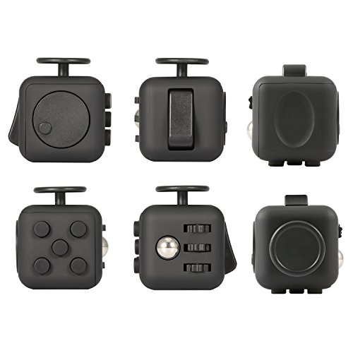 Focus Cube, Magicfly Fidget Cube For Anxiety Stress Relief Attention Focus Cube Toy For Children / Adult Gift ADHD, All Black - 5