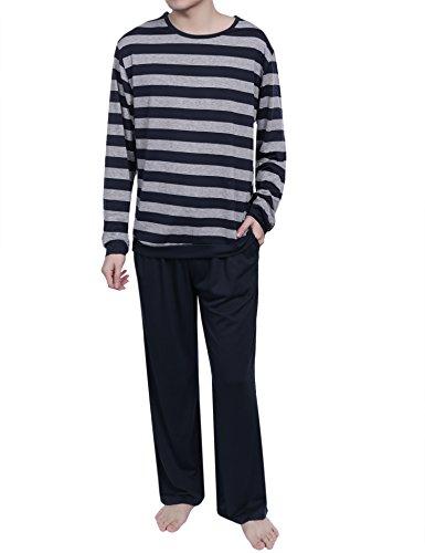Aibrou Herren Schlafanzug Pyjama Baumwolle Lang Nachtwäsche Set Langarm Rundhals Gestreift Grau XL (Grau Herren-nachtwäsche)