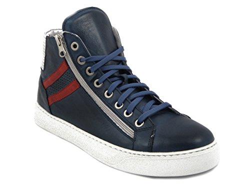Exton stivaletto uomo in pelle blu, sneaker, 590-e17