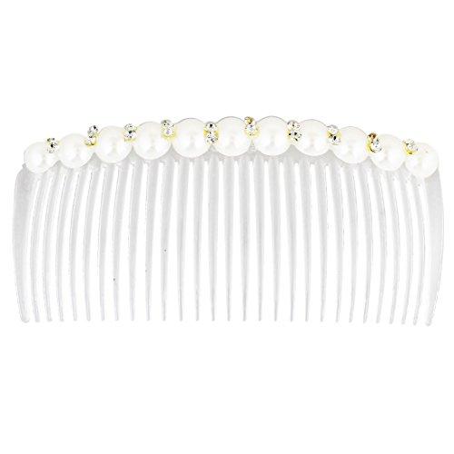 Sourcingmap® pour femme Sparkle Strass Détails étroites dents Peigne à cheveux clip Blanc