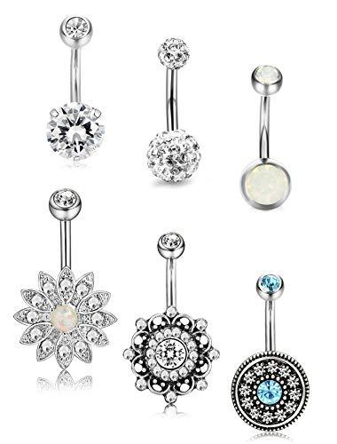 14G Edelstahl Bauchnabel Ringe für Frauen Mädchen Nabel Ringe CZ Erstellt Opal Piercing Schmuck ()