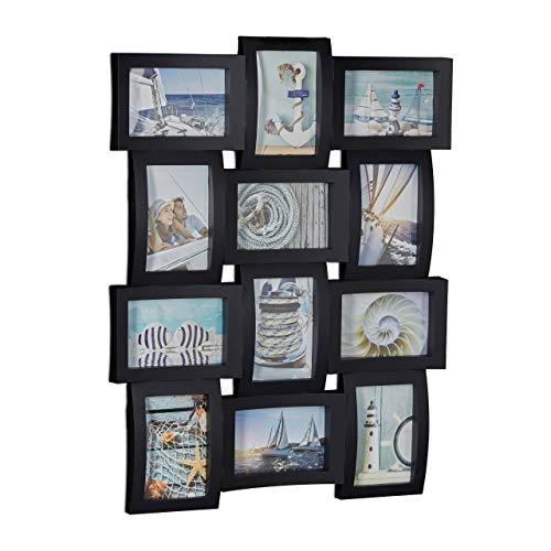Relaxdays Bilderrahmen 12 Fotos, Galerierahmen für Collagen, Mehrfachbilderrahmen, HBT: 60,5 x 47,5 x 3,5 cm, schwarz