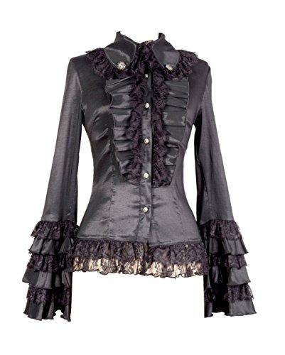 Pentagramme Gothic Bluse schwarz (Kostüme Horror Gothic)