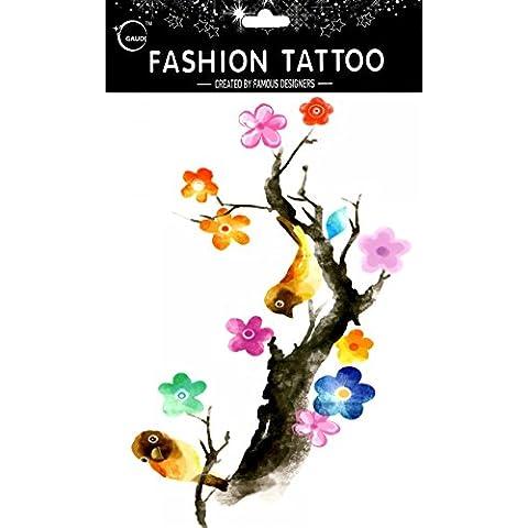 GGSELL GGSELL impermeable y no Tóxico temporal tatuajes diseño grande Oriole son de descanso en el ciruelo temporal tatuajes Mujer para el pecho, Ombligo, Espalda, Piernas,