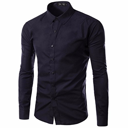 Men's Vestidos Camisa Long Sleeve Slim Fit Casual Shirts Navy blue