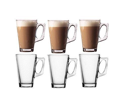 Pack von 6Latte Gläser-Glas Tassen Becher für Kaffee oder Tee-250ml-11cm hoch