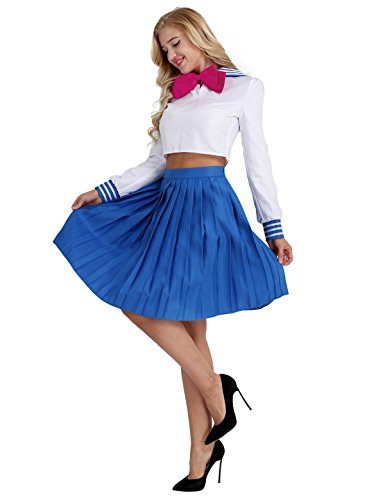 YiZYiF Damen Schulmädchen Sailor Moon Cosplay Kostüm Set Anime Schuluniform Anzug Top+Minirock+Haarband für Kanerval Faschings Party Cosplay Weiß & Blau - Teenager Sailor Kostüm