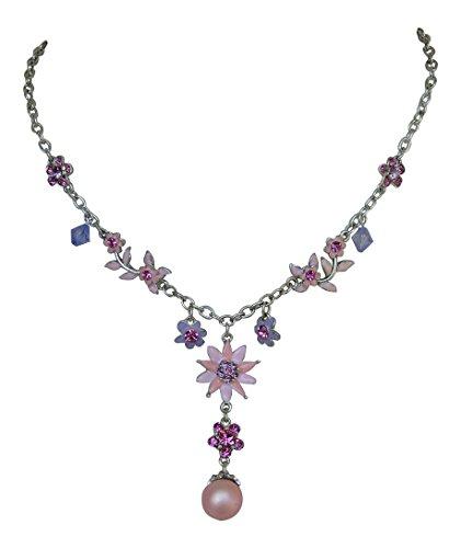 TrachtenschmucK Kristall Blüten Collier Rosa Violett Kristall Kette zum Dirndl