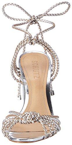 Protezione Donna S2-01480088 Sandali Con Cinturino Argento (prata)