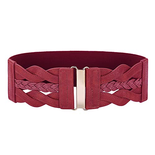 GRACE KARIN Cintura da Donna Elastica con Fibbia Dorata Similpelle Intrecciati Obbiettivo Multiplo