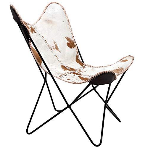 Kare Sessel Butterfly Fur, moderner Design Echtfellsessel im Retrolook, extravaganter Relaxsessel im...