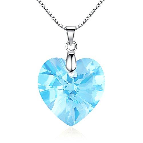 GoSparking Aquamarine azul cristalino del corazón el oro blanco 18K plateó el collar pendiente de la aleación con el cristal austríaco para las mujeres