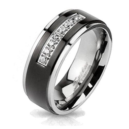 Paula & Fritz® Titan Ring Micro Zirkonia black 5 Größen verfügbare Ringgrößen 60 (19) – 69 (22) R-TM-3212