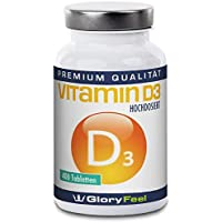 Vitamin D3 1000 IE - Der VERGLEICHSSIEGER 2017* - 400 Hochdosierte Vitamin-D Tabletten ohne Magnesiumstearate - Über 13 Monate D-3 Bedarf - Nahrungsergänzung von GloryFeel