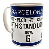 FCB FC Barcelona - Taza con diseño de entrada (Talla Única) (Blanco/Azul)