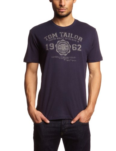 TOM TAILOR Herren T-Shirt logo tee, Gr. Medium, Blau (navy 6000)