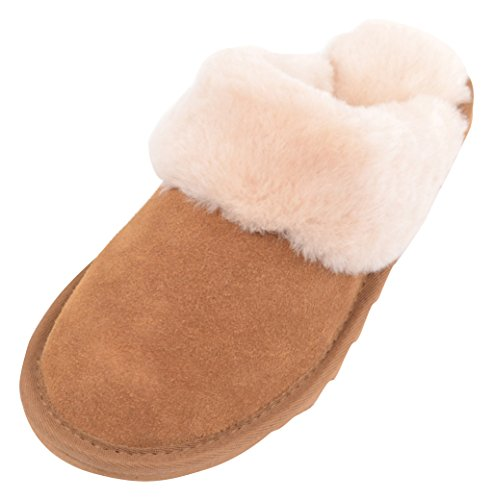 SNUGRUGS With Sheepskin Cuff and Lightweight Sole, Pantofole Donna Marrone (Chestnut)