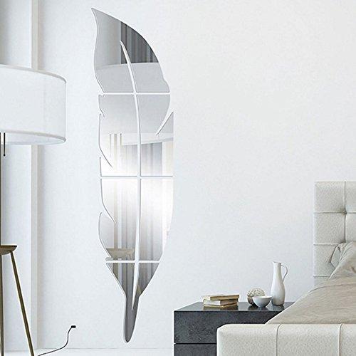VANKER nuevo Diy extraíble en forma de plumas de plástico espejos en pared casa arte adhesivo, plata...
