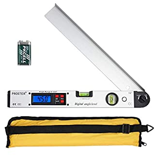 Digital Angle Finder 0-225° Digital Protractor with Battery And Pouch 400mm/16 inch Angle Ruler with Spirit Levels And Backlit LCD Digital Inclinometer Angle Measuring Tool