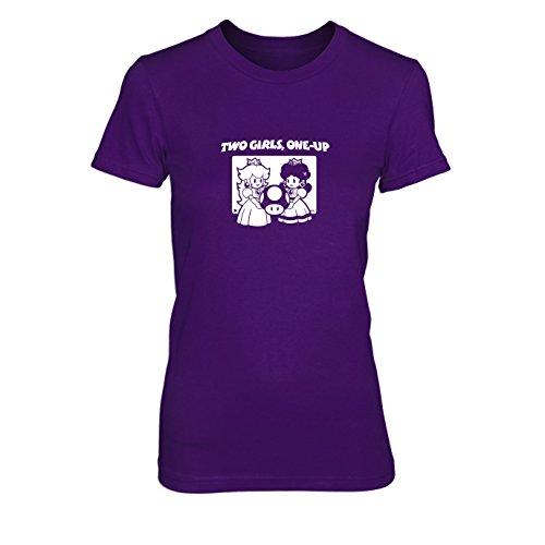 (Two Girls, One-Up - Damen T-Shirt, Größe: XL, Farbe: lila)