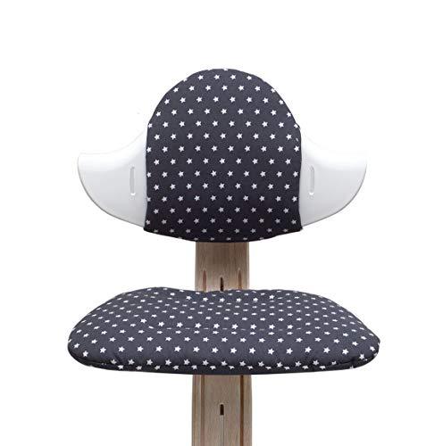 Blausberg Baby - Sitzkissen Set für Nomi Hochstuhl von Evomove - Dunkelgrau Anthrazit Stern (BESCHICHTET)